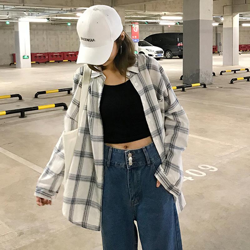 夏季女装韩版中长款宽松拼色格子长袖衬衫薄款防晒衣衬衣上衣外套