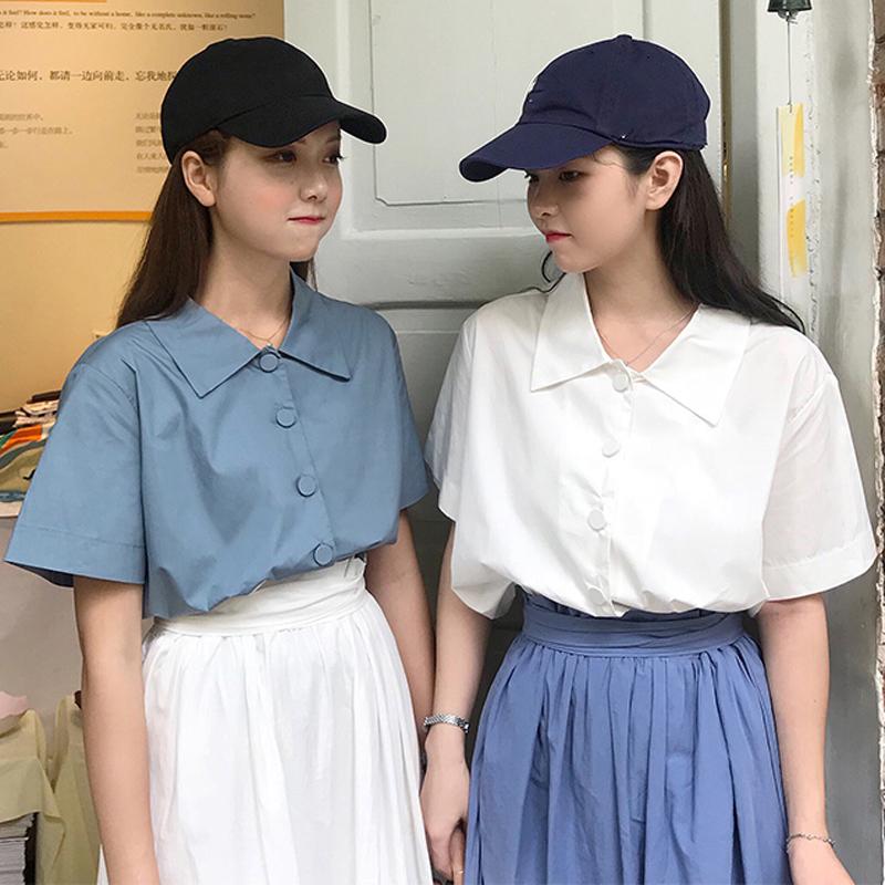 夏季女装韩版宽松显瘦百搭纯色闺蜜单排扣短袖衬衫学生衬衣上衣潮