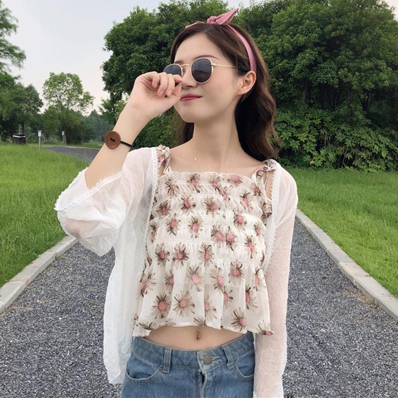夏装女装韩版小清新修身百搭显瘦短款雪纺碎花吊带外穿背心+披肩