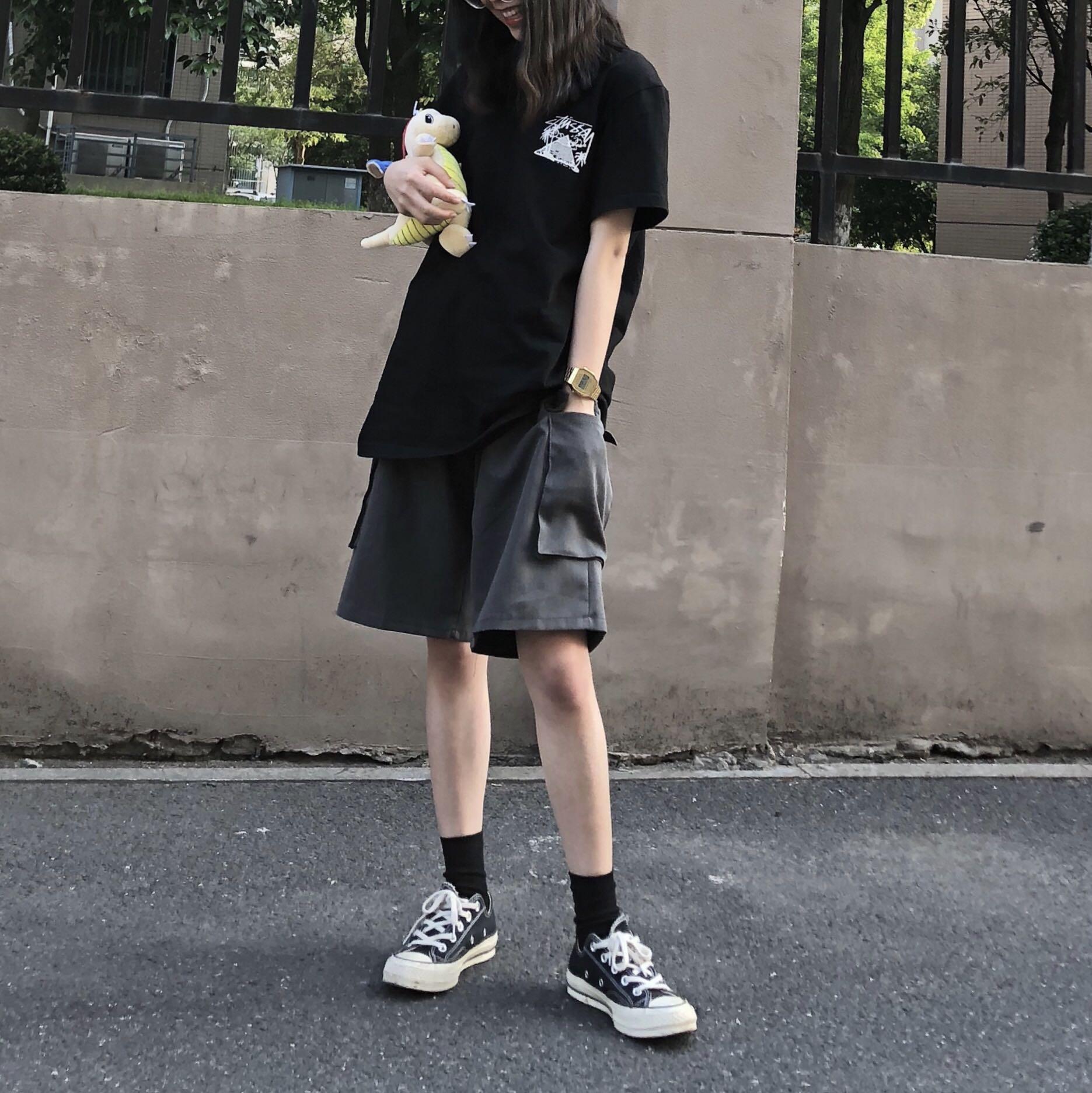 12-12新券五分中性风学生高腰宽松显瘦子短裤