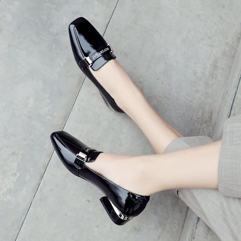 2019新款豆豆鞋低跟方头单鞋女粗跟英伦黑色工作小皮鞋百搭乐福鞋