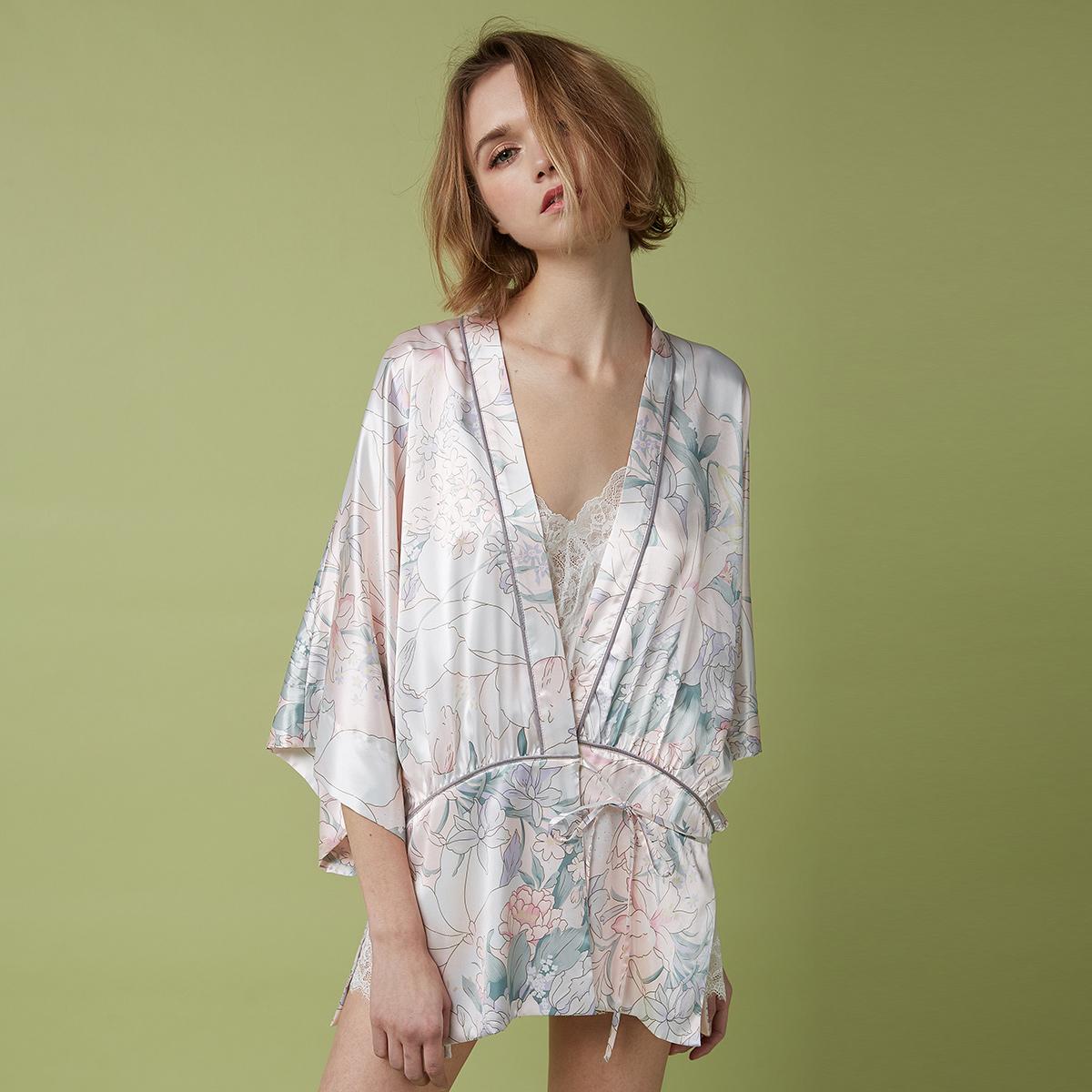 PJM новая весна и лето должен спать платье женщина смысл свободный кимоно стиль отпечатано в рукав открытый рубашка пижама домой одежда халаты