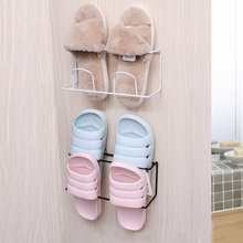 Toilet, bathroom, slipper rack, wall door, shoe storage device, wall hanging, nail free, hole free and space saving