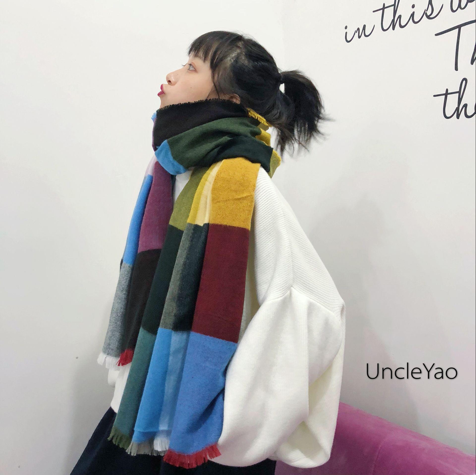 UncleYao限定!好看到哭泣的仿羊绒彩格大披肩保暖长款围巾女秋冬