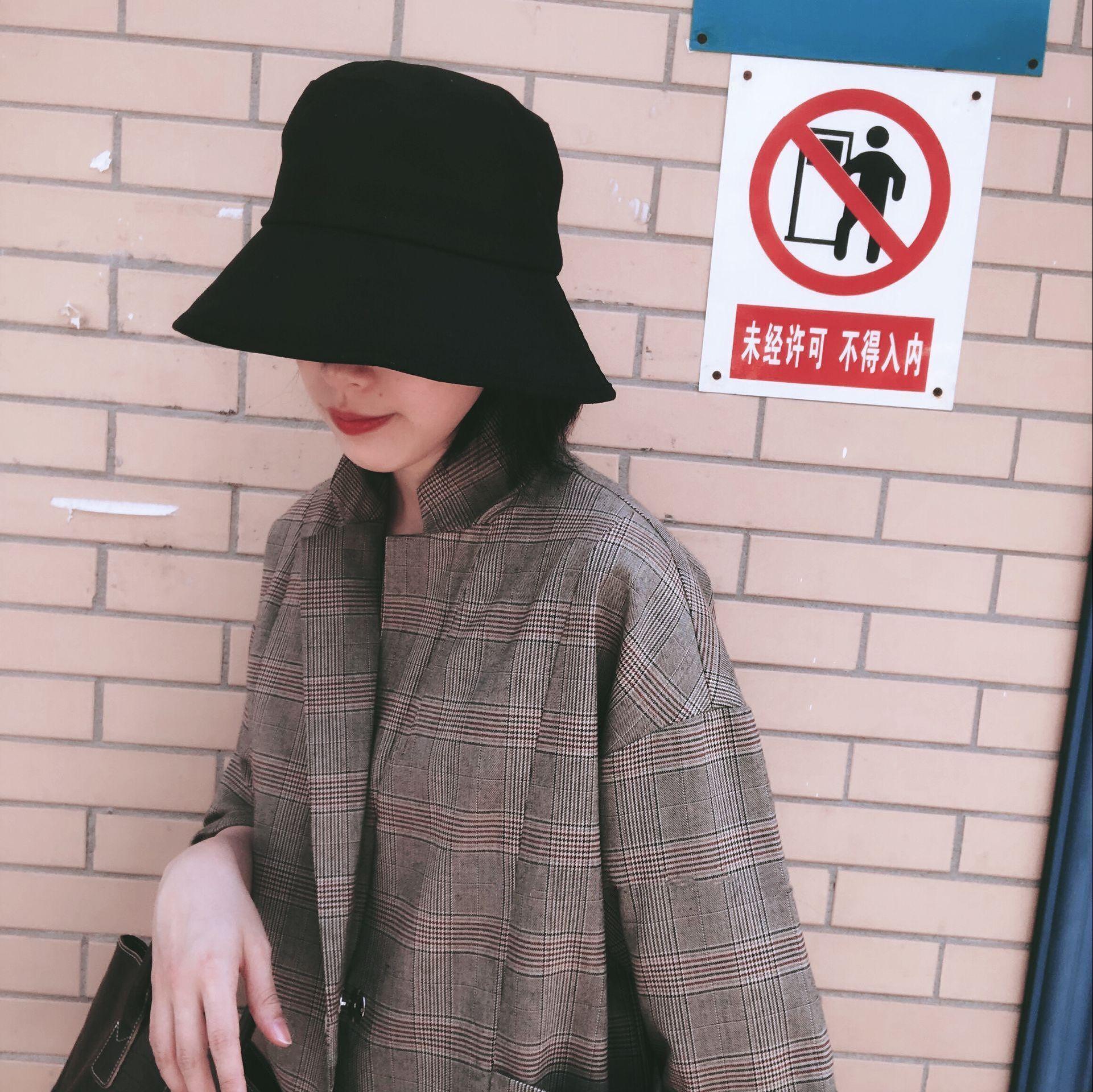 券后36.00元万年款!结实耐用禁欲系黑色渔夫帽纯色盆帽可折叠遮阳帽太阳帽女