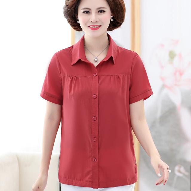 中老年服装女装短袖衬衫宽松上衣2021新款中年妈妈装夏装开衫衬衣