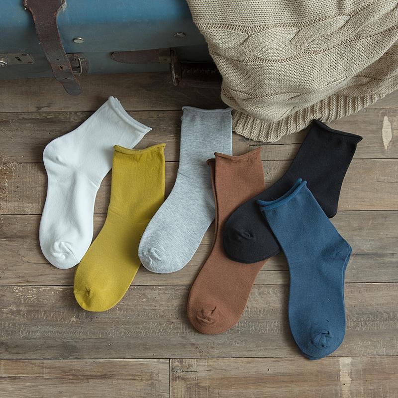 黑色长纯色韩版春秋学院风潮中筒袜16.80元包邮