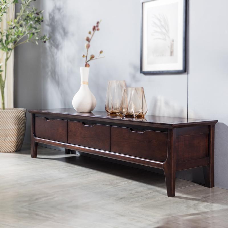电视柜茶几组合套装原木色客厅储物小户型全实木新款放电视的柜子