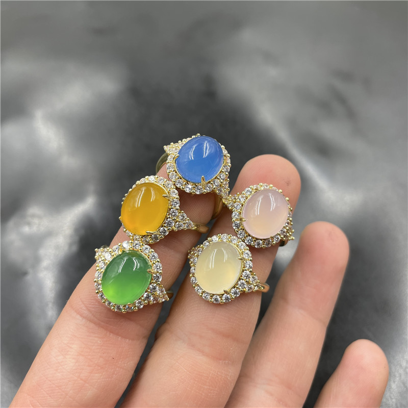 华夏美玉 925银镶嵌冰种浅粉色玉髓戒指 女款活扣可伸缩绿色指环