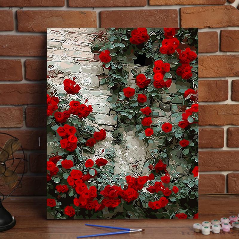 花卉风景手绘植物填色画客厅卧室装饰油彩画diy数字油画玫瑰花墙