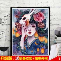 客廳沙發背景墻掛畫油畫純手繪輕奢九魚圖玄關裝飾畫走廊過道壁畫