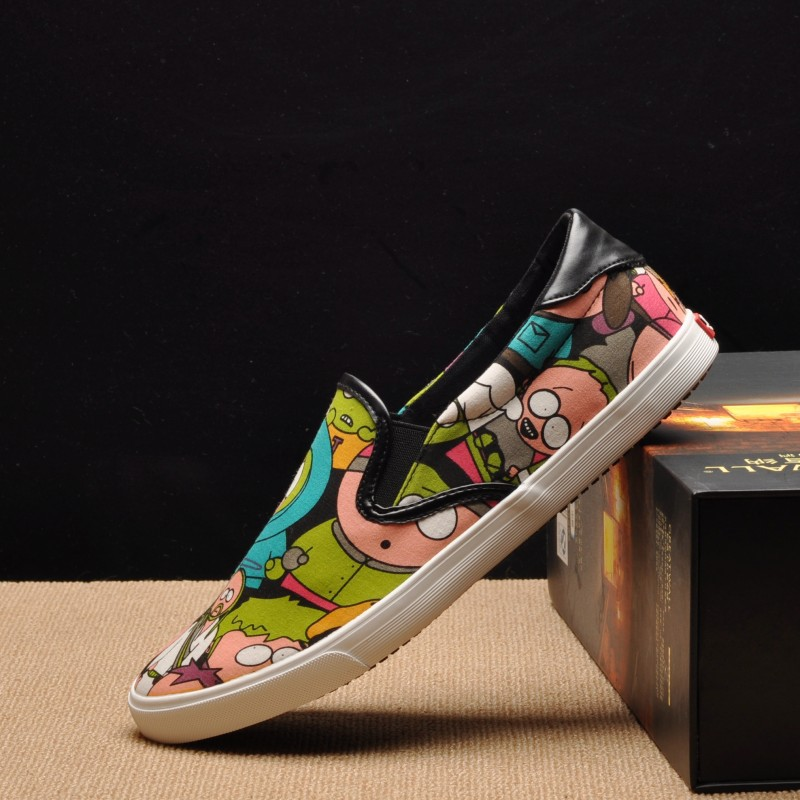 Spring and summer fashion printed one foot lazy man canvas shoes flat heel leisure Korean version of student Lefu couple fashionable single shoes