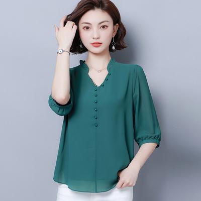 大码女装短袖雪纺衫妈妈新款韩版上衣夏中老年遮肚减龄打底衫T恤