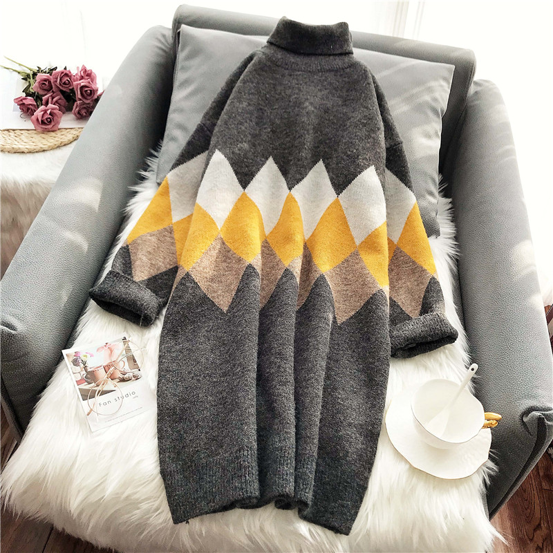 Long high collar lazy wind loose over the knee sweater Pullover woolen dress womens dress check autumn and winter big size thick