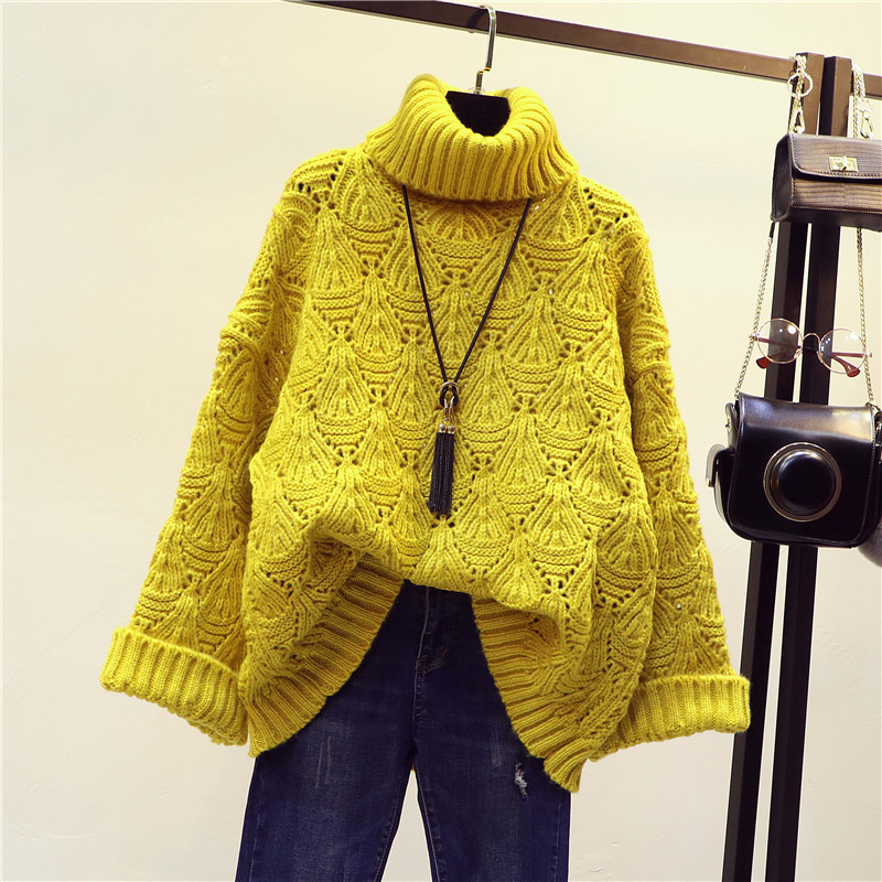 Autumn and winter thickened Korean loose medium long Pullover womens high collar sweater hollow out winter woolen jacket