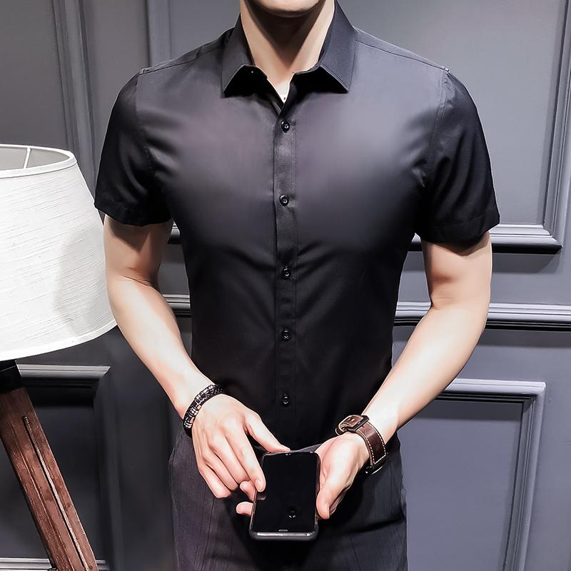 夏季男士短袖衬衫韩版商务休闲衬衣修身帅气白寸衫 2002-CS72-P20