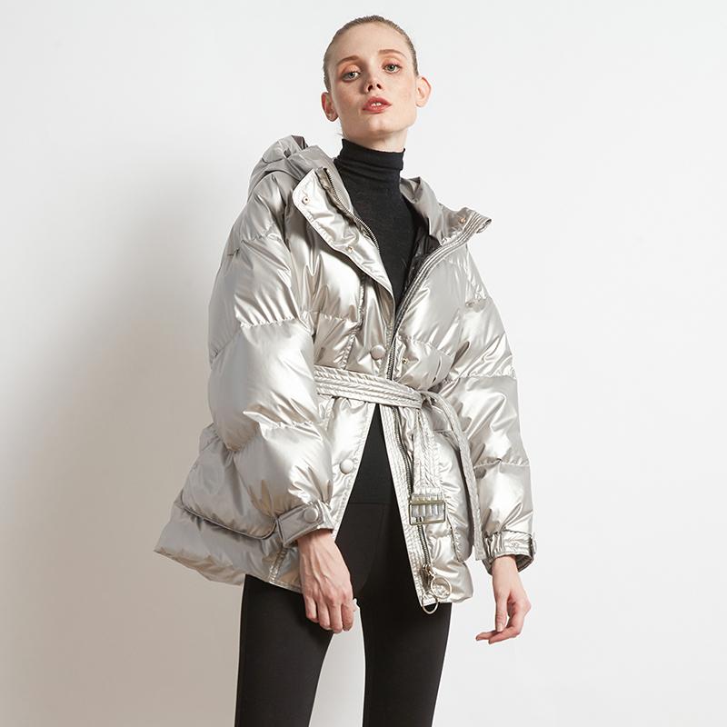 MEFUR 2018冬季新品时髦百搭立领金银亮面羽绒服女短款连帽外套