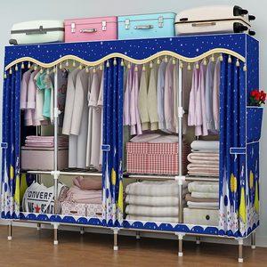 简易衣柜加粗加固钢管涤棉布衣柜简约经济型组装收纳衣橱