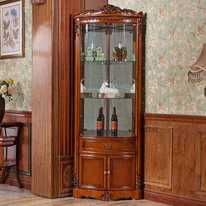 欧式实木转角酒柜白色客厅角柜奢华三角酒柜墙角柜三角形家用酒柜