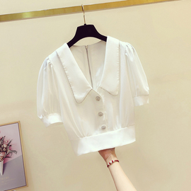 法式收腰雪纺衬衫女短袖2020夏季新款韩版小众设计感泡泡袖衬衣潮