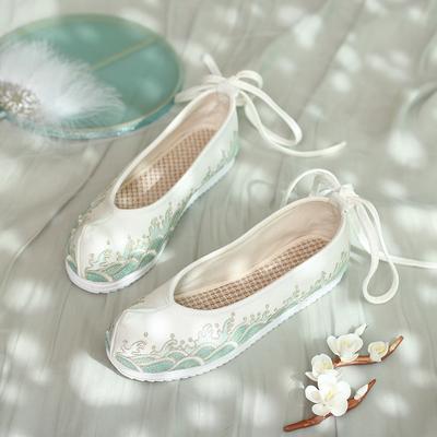 汉服鞋子女古风绣花鞋平底中国风翘头汉服鞋女弓鞋汉鞋女古风淡雅