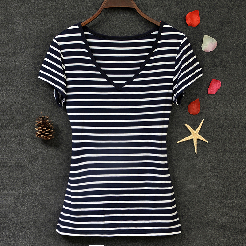 2020 large womens parcel mail modal T-shirt European and American stripe slim top V-neck short sleeve womens bottom coat