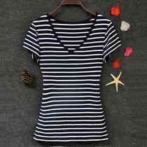 2019大码女装包邮莫代尔T恤欧美条纹修身显瘦上衣v领短袖女打底衫