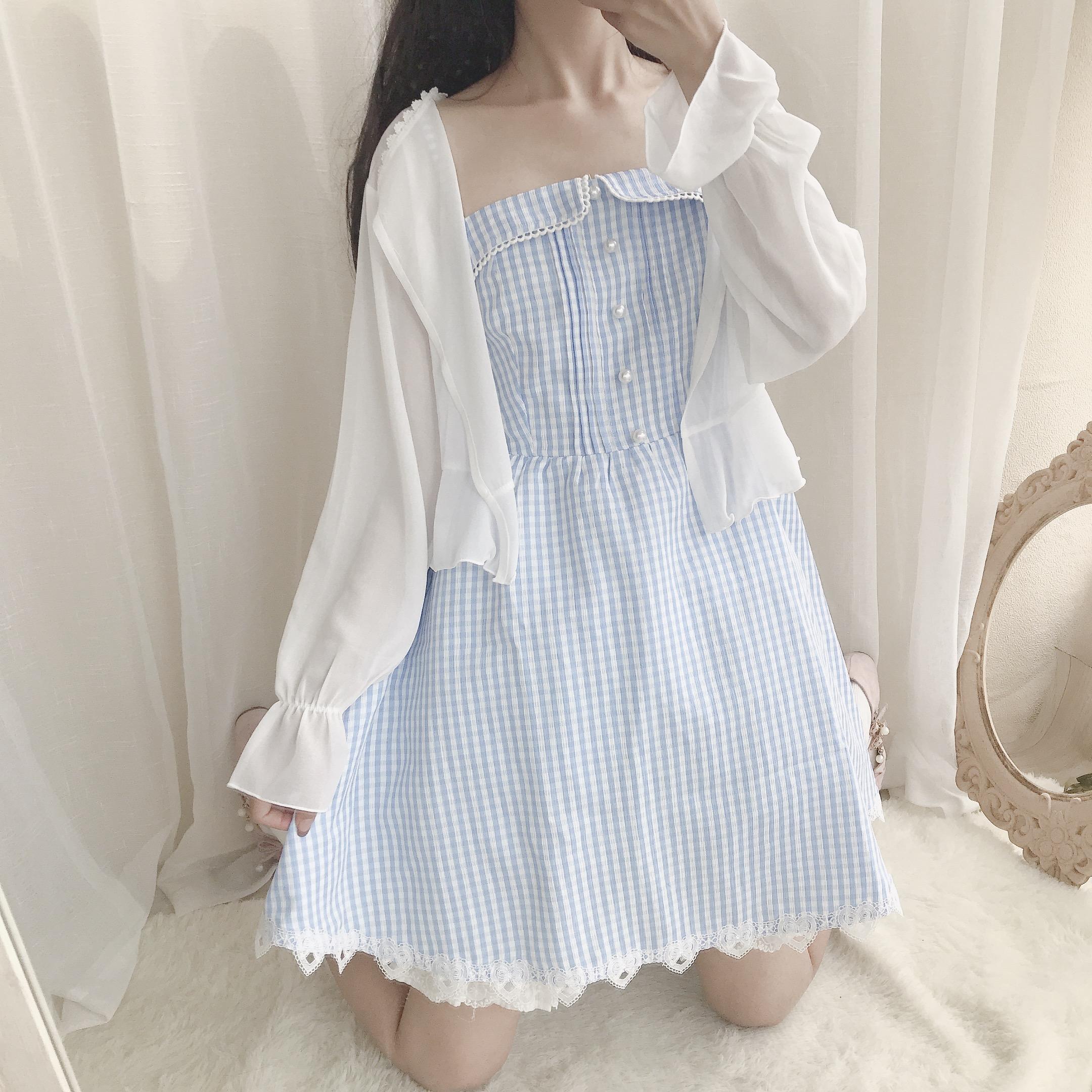 【格子物】初恋的味道蓝色格子温柔夏天吊带蕾丝花边珍珠连衣裙