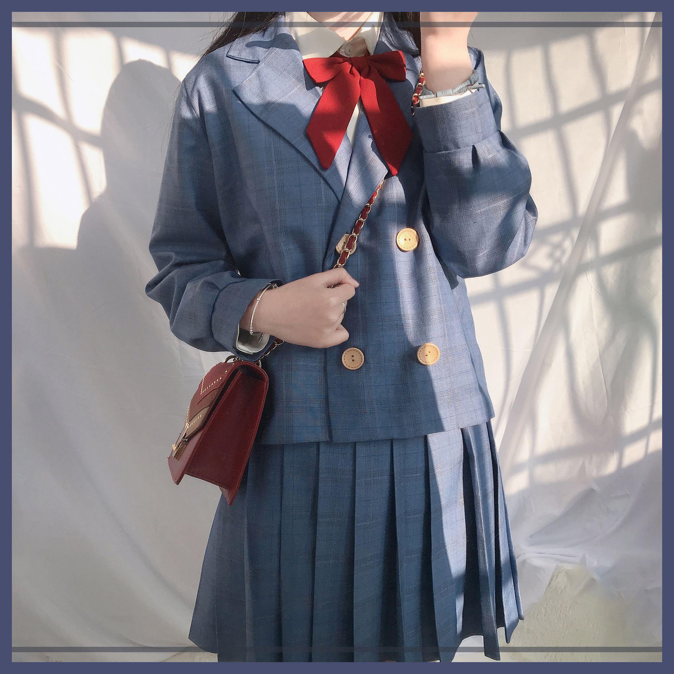 [Plaid] autumn and winter top students Grey Blue Plaid retro leisure elegant suit, two pieces of quiet temperament