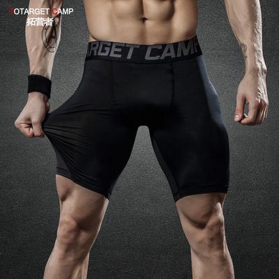 运动紧身短裤男快干透气高弹力健身训练跑步五分裤篮球打底运动裤