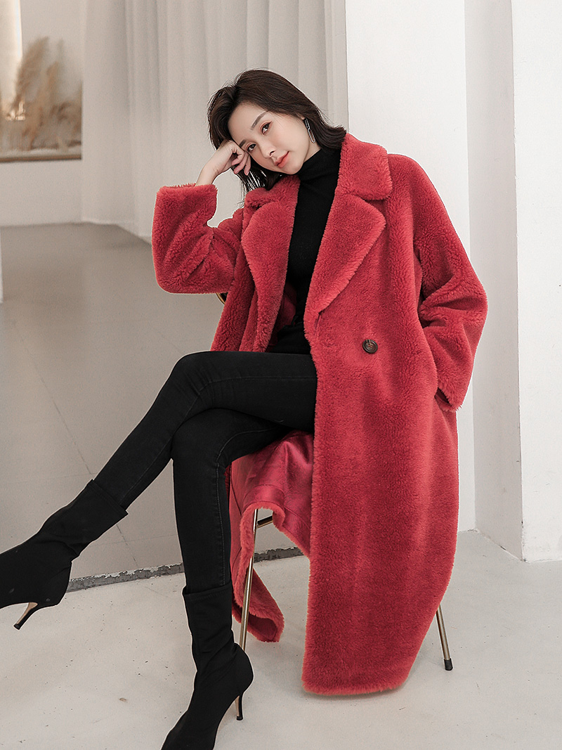 Cashmere coat womens suit collar new medium and long composite fur one particle wool windbreaker fur coat