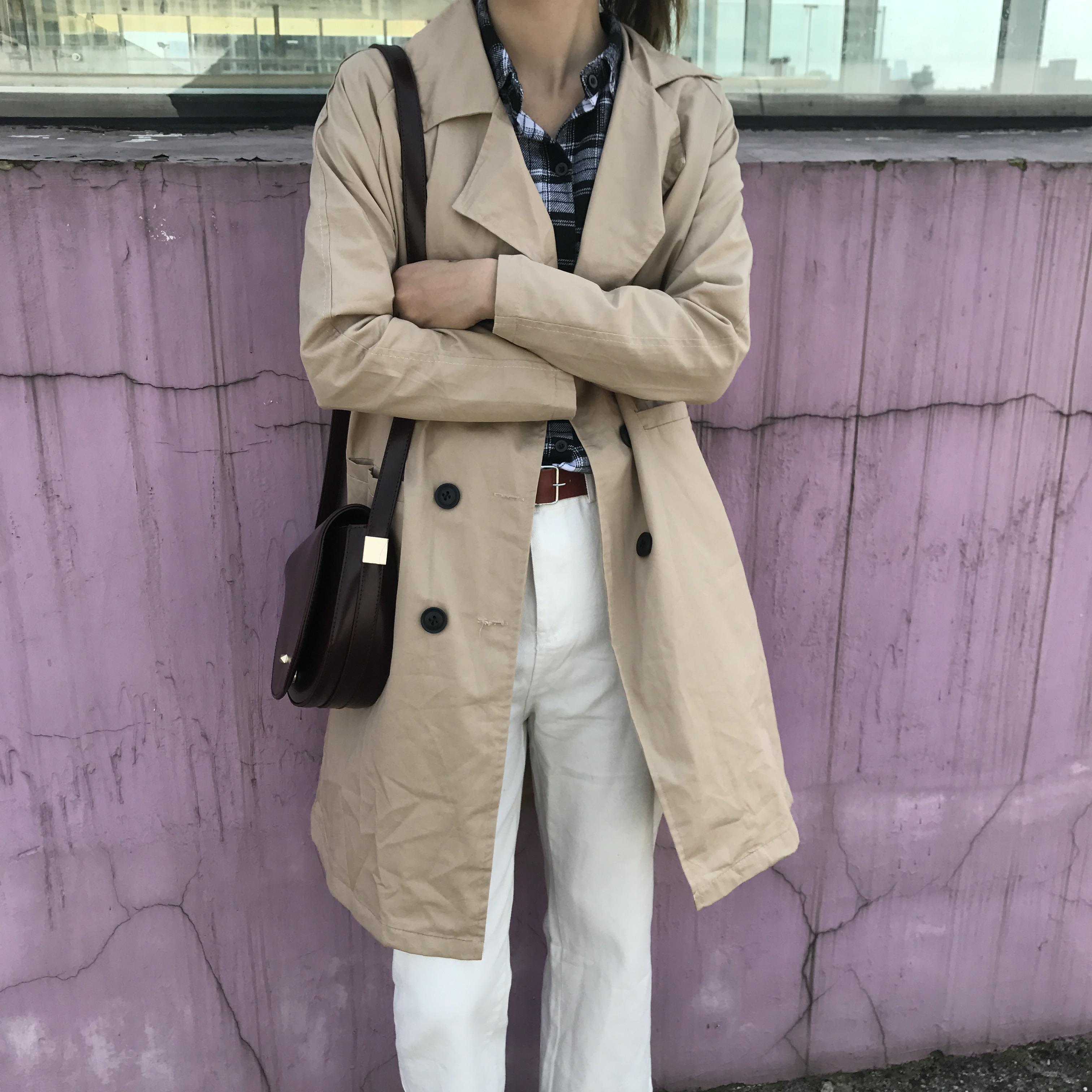 2527#实拍款~现货 韩chic 宽松百搭 双排扣中长款风衣外套