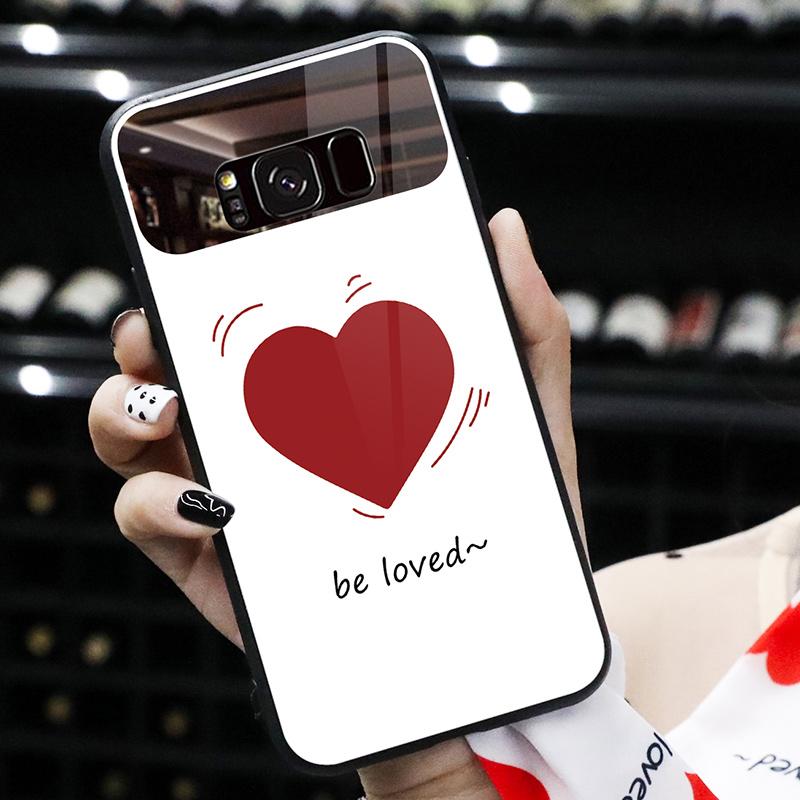 三星S10手机壳S9网红个性S8+爱心玻璃补妆镜子高档S10+潮女带挂绳