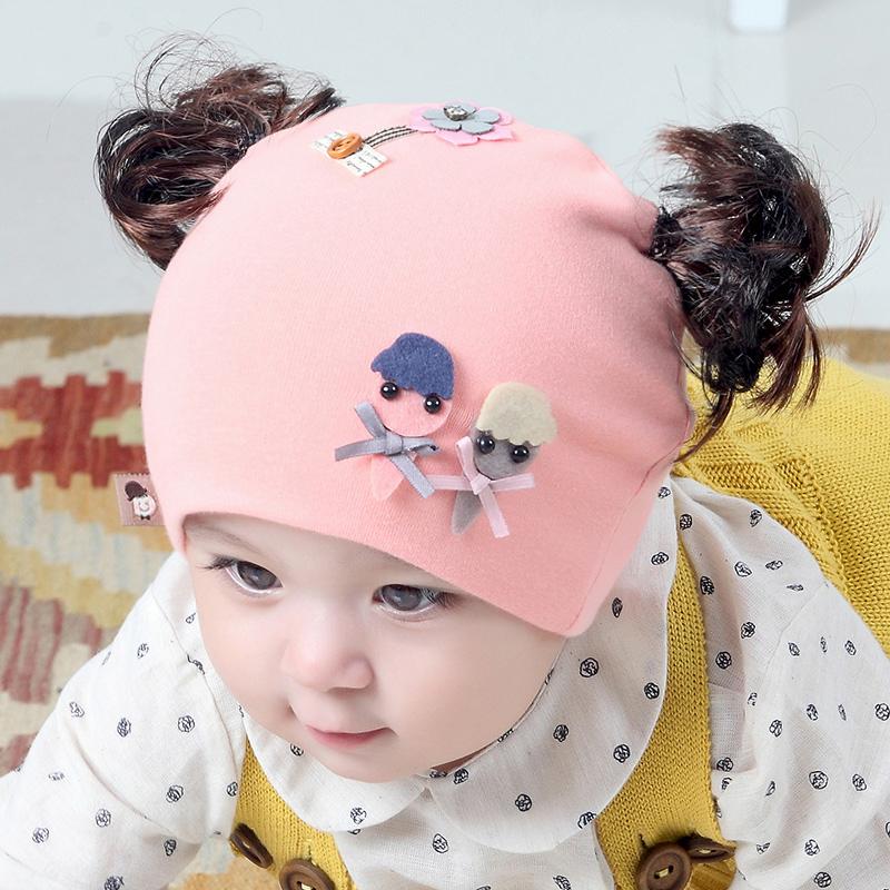 婴儿帽子春秋冬季薄款女宝宝假发帽洋气婴幼儿可爱超萌公主帽秋天