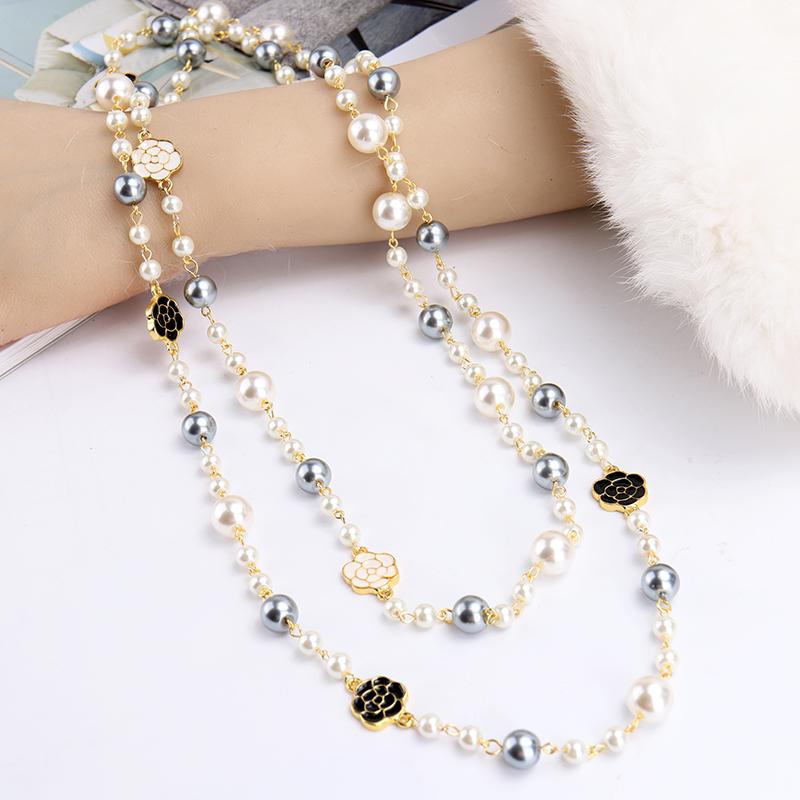 长款珍珠女韩版多层双面滴釉毛衣链