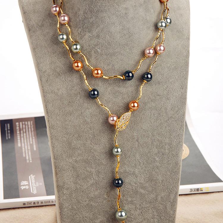 毛衣项链女长款挂链日韩时尚百搭奢华水晶卡扣珍珠挂件冬季配饰品
