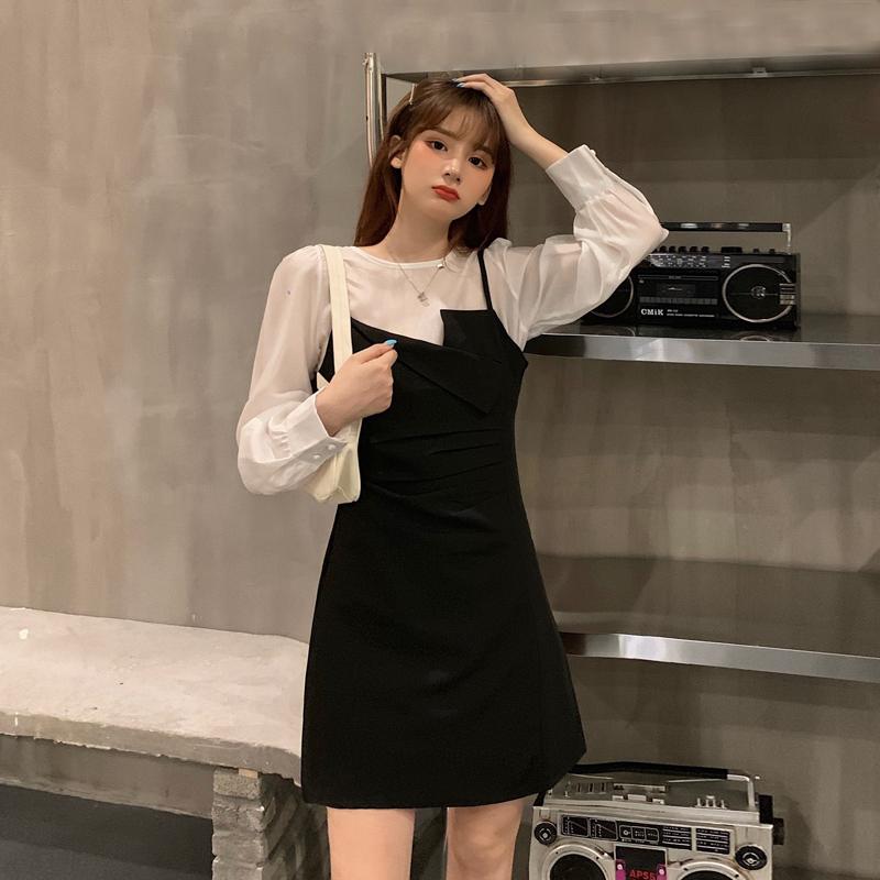 不规则吊带裙秋装2020年新款显瘦气质连衣裙女装裙子打底衫两件套