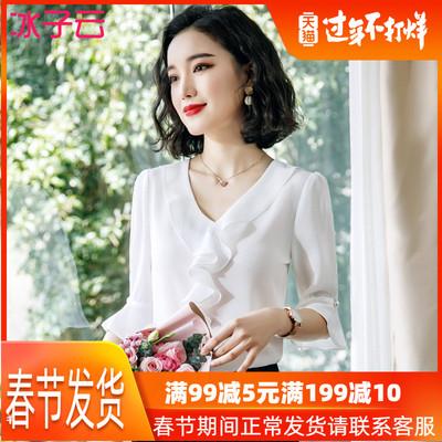 白色荷叶边衬衫女上衣短袖洋气宽松雪纺职业2019新款韩版长袖衬衣