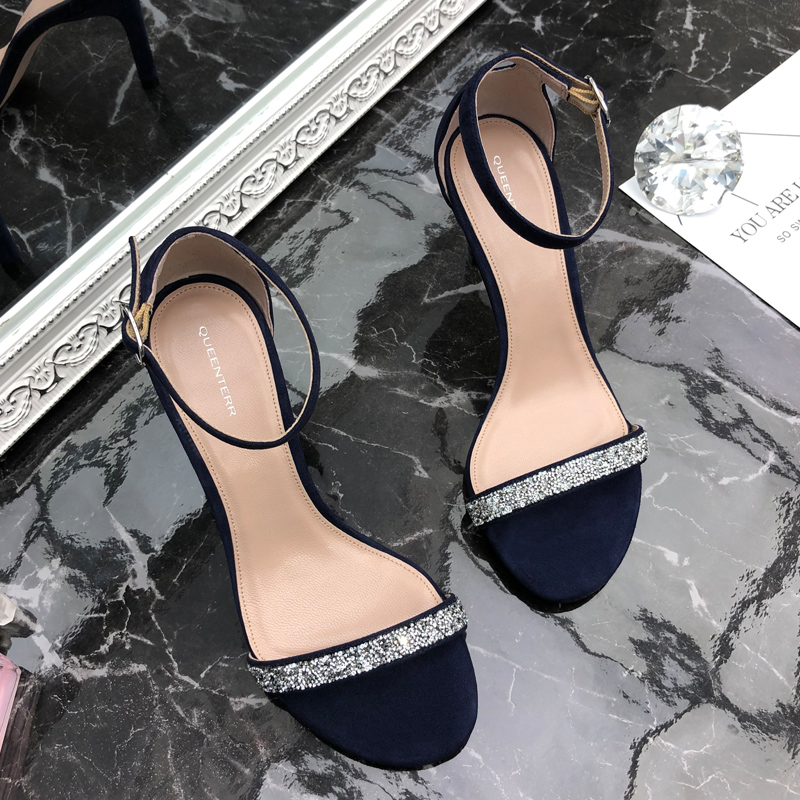 High end suede 2020 new summer leather SW one word buckle open toe high heel thin heel Rhinestone sandals for women