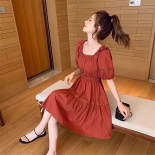 法式方领绵绸连衣裙女夏季泡泡袖收腰显瘦气质休闲减龄复古