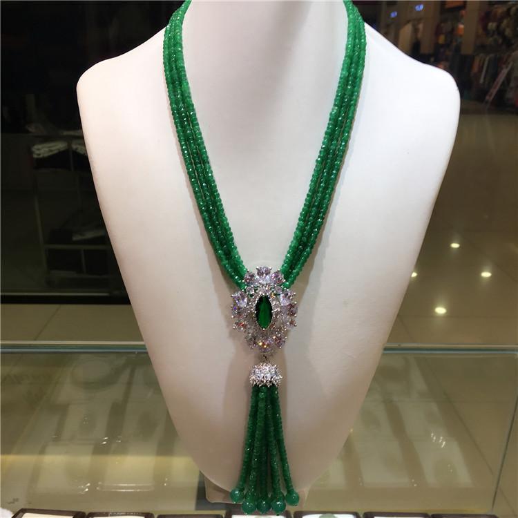 美超尚美 银微镶锆石绿玛瑙流苏时尚项链 毛衣链 高大尚送礼觉