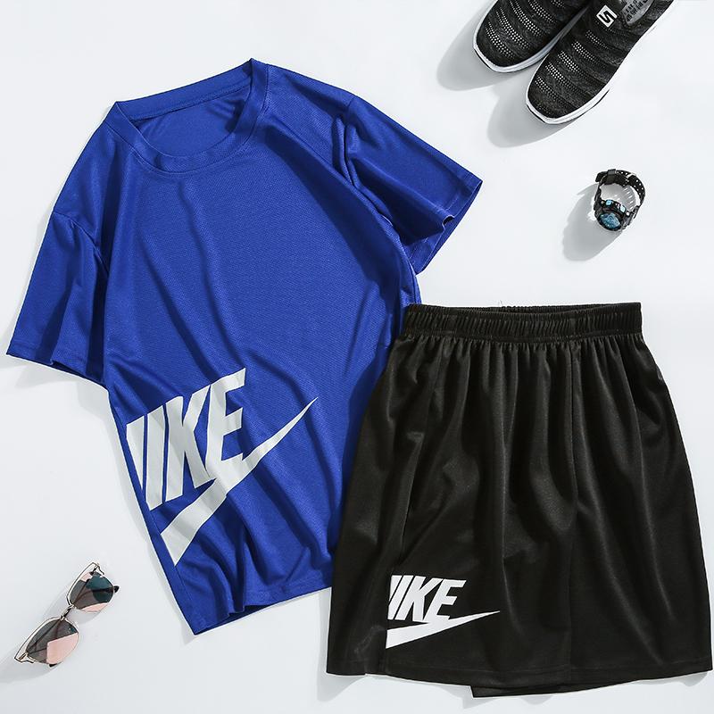 夏季男士短袖T恤休闲运动套装宽松型男短裤两件套跑步健身速干服图片