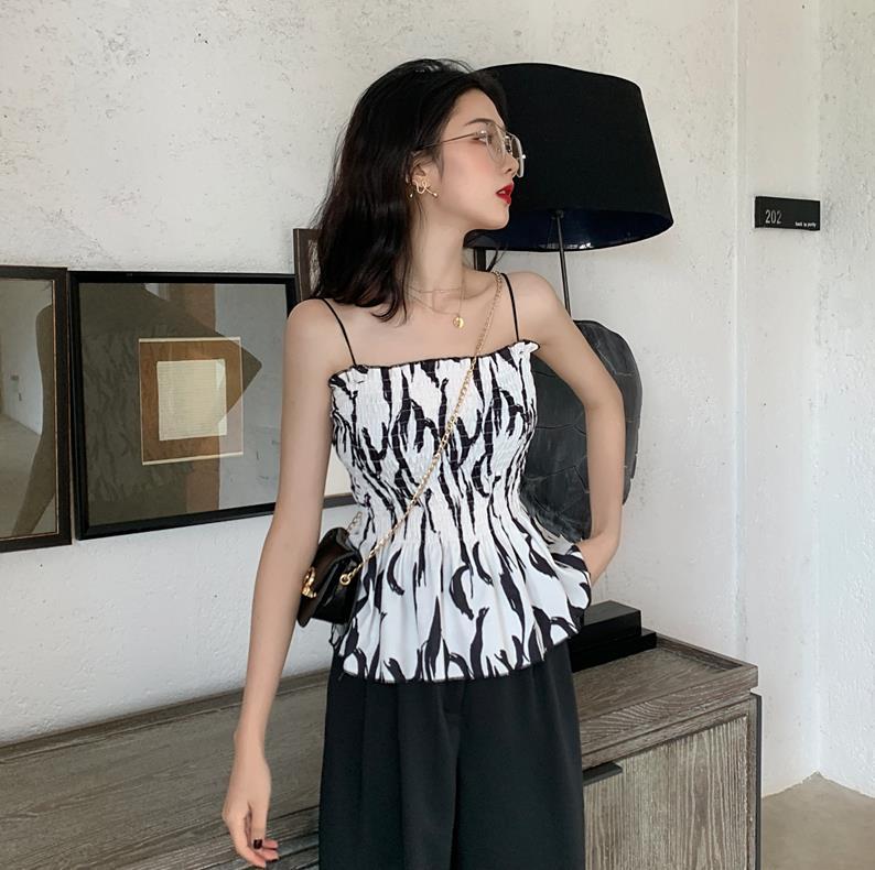 mschf吊带背心女外穿上衣夏装2019新款复古条纹无袖内搭打底衫潮正品保证