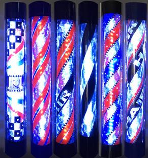 美发转灯 理发店发廊标志灯LED半圆户外挂壁式防水炫彩超亮小灯箱