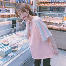 官图 6535#新款女装韩版学生宽松日系拼色半袖T恤上衣短袖小清新