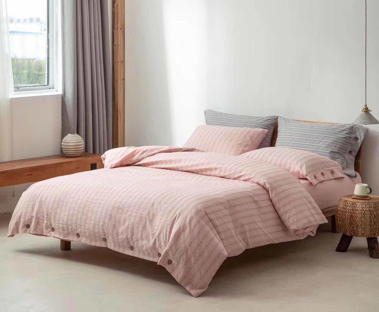 全棉色织四件套被套柔软全棉棉纱纯棉床品纱四件纱布提花枕套床单
