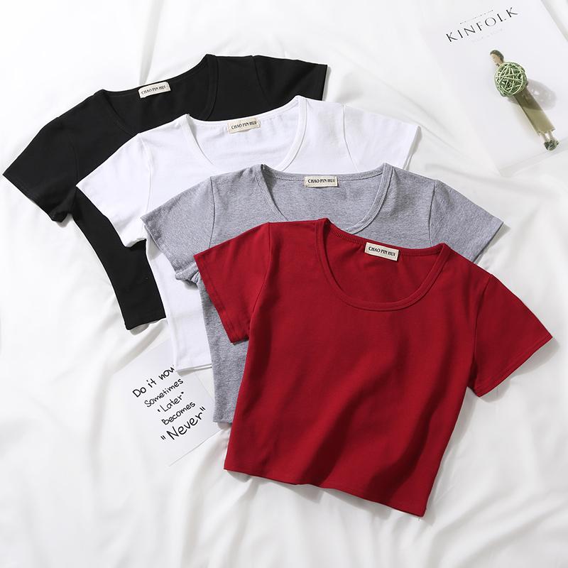 纯棉短袖t恤女夏短款露脐上衣漏肚脐打底衫紧身高腰体恤短装小衫11月11日最新优惠