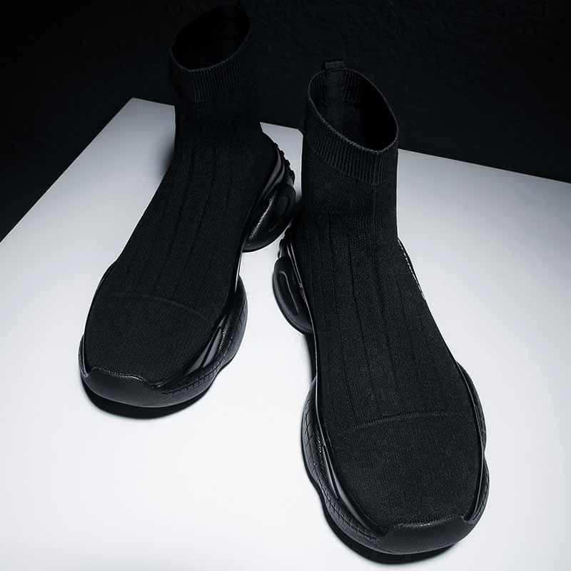 男鞋春季2021新款潮流高帮鞋厚底袜子鞋休闲运动鞋欧洲站潮牌鞋子