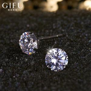 黑白锆石仿钻石耳环简约女纯银耳钉