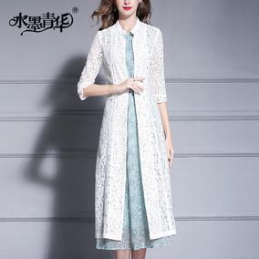 水墨青华春季新款时尚百搭蕾丝开衫